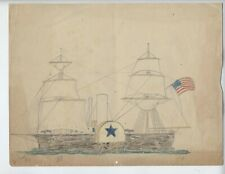 1880 OLD AMERICAN SHIP EARLY Antique American Patriotic FLAG Folk Art fantastic