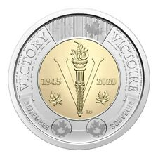 2020 Canada 75th Anniversary End of World War II $2 Non Coloured Coin From Roll