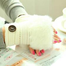 Women Girl Warm Fingerless Faux Rabbit Fur Knitting Winter Wrist Gloves Mittens