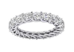 Eternity Wedding Ring I1 G 3.20Ct Natural Diamond 14K White Yellow Rose Gold
