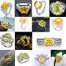 925 Silver Yellow Sapphire Citrine Diamond Rings Wedding Jewelry Ring