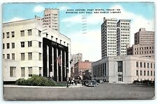 VTG Postcard 1948 Civic Center Fort Worth TX Texas Dallas Stamp Cancel Car A9