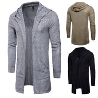 Men Knitted Cardigan Long Sleeve Casual Slim Fit Hooded Jacket Coat Tops Fashion