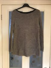 Ladies Clothes Size Medium Zara Grey Jumper Faux Leather Trim (624)