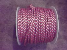 "50 FT ~ Braid Derby Rope 3/8"" x 50' Red/White ~ NEW from SPOOL"