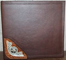 BERRIES & STARS SILVER SADDLE CORNER CONCHO CHOCOLATE LEATHER  3 RING BINDER
