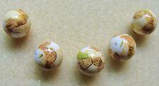 5 Japanese Tensha Beads TULIPS on WHITE ROUND Beads 12mm