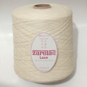 Zarela LACE 100% Baby Alpaca Machine Knitting Yarn Cone 1kg - Various Colours