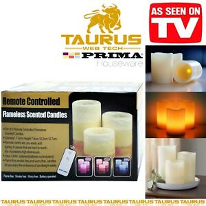 3 x Pcs FLAMELESS SCENTED CANDLES LED Remote Controlled HOME DECOR Wax Lights UK