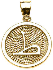 "14k Yellow Gold Arabic Letter "" taa "" T Initial Charm Pendant"