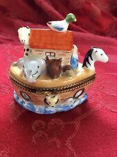 Flawless Stunning Limoges France Peint Main Trinket Box Noah'S Ark & Hen Inside
