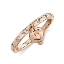 14K Rose Gold Diamond Dangle Ball Ring Womens Statement Right Hand Cocktail
