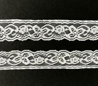 "Vintage 3 1//4/"" Wide Lace Trim 8 Yards Eyelet Look Sewing Crafts White Lot 32"