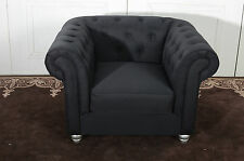 Chesterfield Tub Chair in Black Linen Fabric