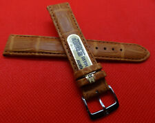 New Mens Di-Modell Tan Padded Genuine Alligator 19mm Watch Band Silver Buckle