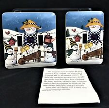 Snowman Metal Switch Plate Covers One Double & One Single By Laurie Korsgaden