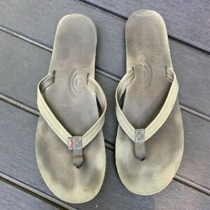 Rainbow Womens Flip Flop Sandals Gray Thong Strap Slip Ons 11