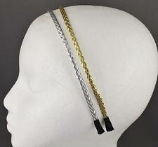 Gold Silver headband set 2 braid faux leather braided hair band skinny narrow