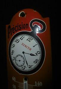 "Älteres Thermometer Emailschild "" Zenith Uhren Granx Prix 1900 Paris Montre """