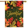 "Thankful Leaves Autumn House Flag Fall Thanksgiving 28"" x 40"" Briarwood Lane"