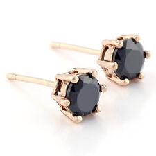 6mm micro Gem piercing men black stud punk stud earrings 14k yellow Gold Plated