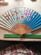 Antigue Hand Painted Wood Orential Fan Brought Home Ww-2