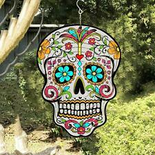 3D Wind Spinner Stainless Steel Sugar Skull Unique Decoration for Home Outdoor