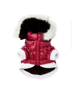 Pet Life 1PKLG Large Pink Metallic Fashion Pet Parka Coat
