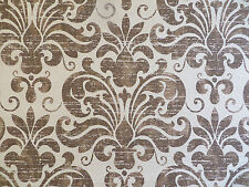 Large scale shield/medallion decorator fabric printed on bark cloth in brown tan