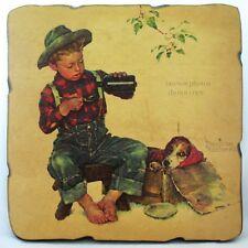 VINTAGE NORMAN ROCKWELL Paintings Art Print BOY DOG Painting Wood Decoupage Arts