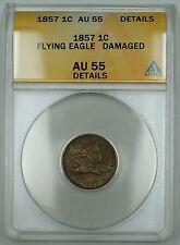 1857 Flying Eagle Cent, ANACS AU-55 Details, Damaged