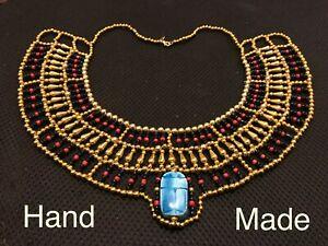 Egyptian Queen_ Cleopatra Style Pharaoh's Necklace/Collar, Scarab 100% Handmade.