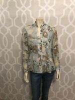Coldwater Creek Blouse XS 4 6 Floral Chiffon Lined Long Sleeve Top Shirt EC
