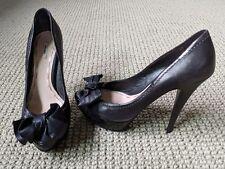 Miu Miu Peep Toe Leather Bow (Black)
