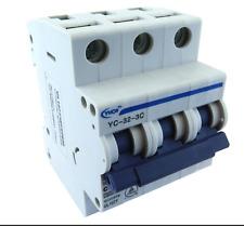 YuCo YC-32-3C Miniature Din Rail Circuit Breaker C Curve 32 Amp 3P 480VAC 220VDC
