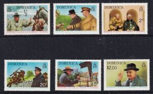 DOMINICA 25 NOV 1974 WINSTON CHURCHILL SET OF ALL 6 COMMEMORATIVE STAMPS MNH