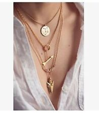 USA NEW FASHION Women Gold Tone Layered Statement Bib Bar Pendant Chain Necklace
