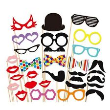 31Pcs Photo Booth Props Photobooth Wedding Party Prop Moustaches Stick Lips DIY