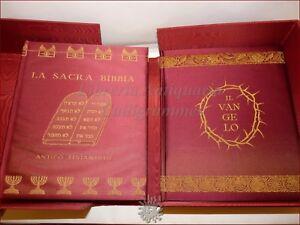 LA SACRA BIBBIA Antico e Nuovo Testamento Vangeli 2 volumi in raso + Cofanetto