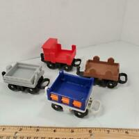 Fisher Price GEOTRAX Railway Rail Cars LOT Train Gray Red Brown Blue Tipping