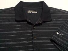 Nike Golf Fit Dry Mens Medium Short Sleeve Blue Striped Athletic Polo Golf Shirt