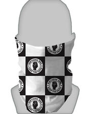 Snood Face Mask Black White Chequered Design Neckwarmer Tube Biker Scarf Bandana