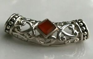 6.5G .925 Sterling Silver Beautiful Filigree Red Gemstone Slider Pendant