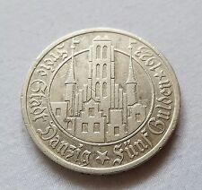 5 GULDEN 1923 DANZIG (FREE CITY)  SILVER (.750) COIN - RARE