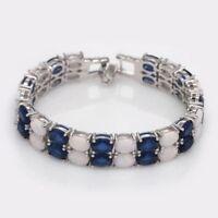 Lovely Sterling Silver Dipped Oval White Fire Opal & Sapphire Bracelet 19.5cm
