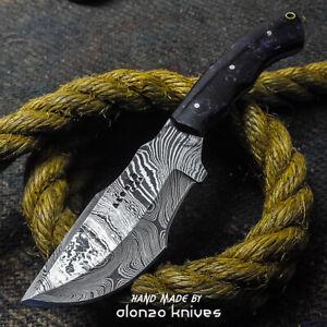 ALONZO USA CUSTOM HANDMADE DAMASCUS   BUSHCRAFT TRACKER KNIFE CORELON 24277
