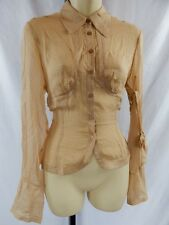 Nos L.A.M.B. Spring 2005 Gwen Boudoir Silk Box Burnout Nude Nautical Blouse S