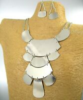 Modern Glossy Metal Plates Dangling Chain Fashion Necklace Earring