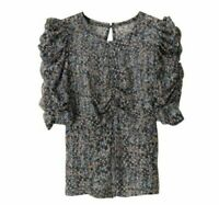ISABEL MARANT x H&M Silk Ruched Top XXS XS S M Blouse Print Pattern Metallic