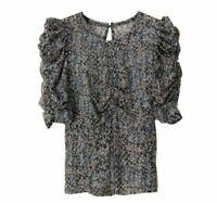 ISABEL MARANT x H&M Silk Ruched Top XXS XS S M Blouse Print Pattern Metallic